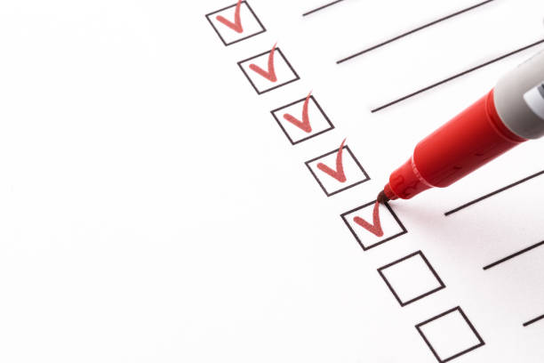 Checklist checklist, red pen, check mark chores stock pictures, royalty-free photos & images