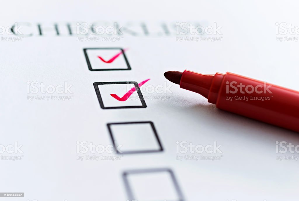 Checklist with checkboxes stock photo