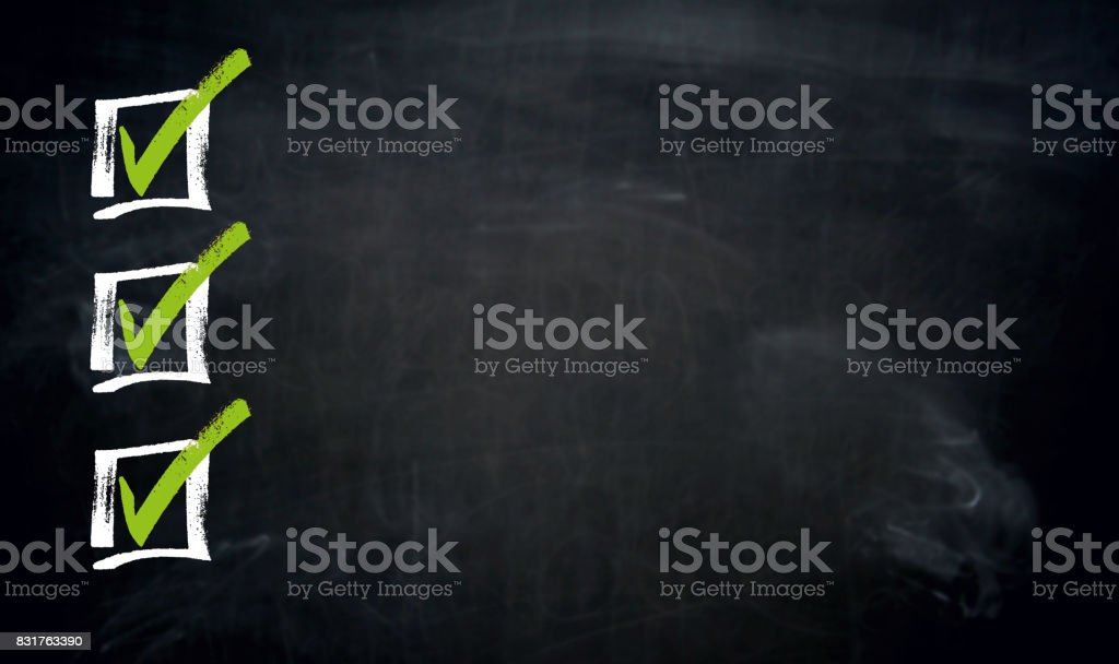 Checklist with Copyspace blackboard template stock photo