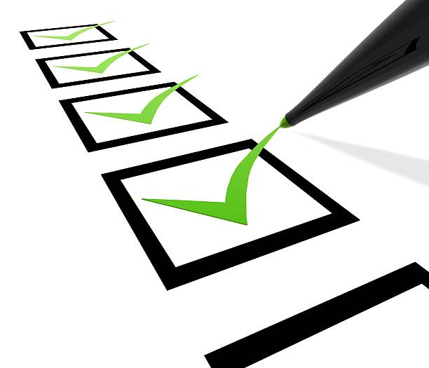 A checklist with green check marks