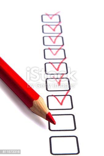 istock Checklist with pencil 811573316
