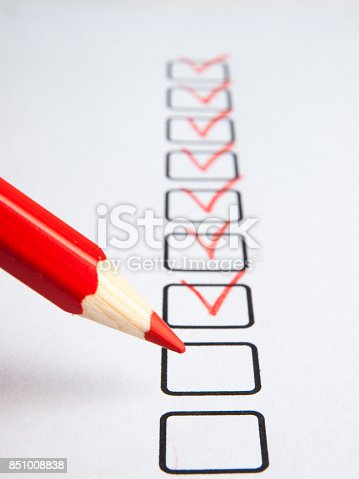 istock Checklist with pencil 851008838