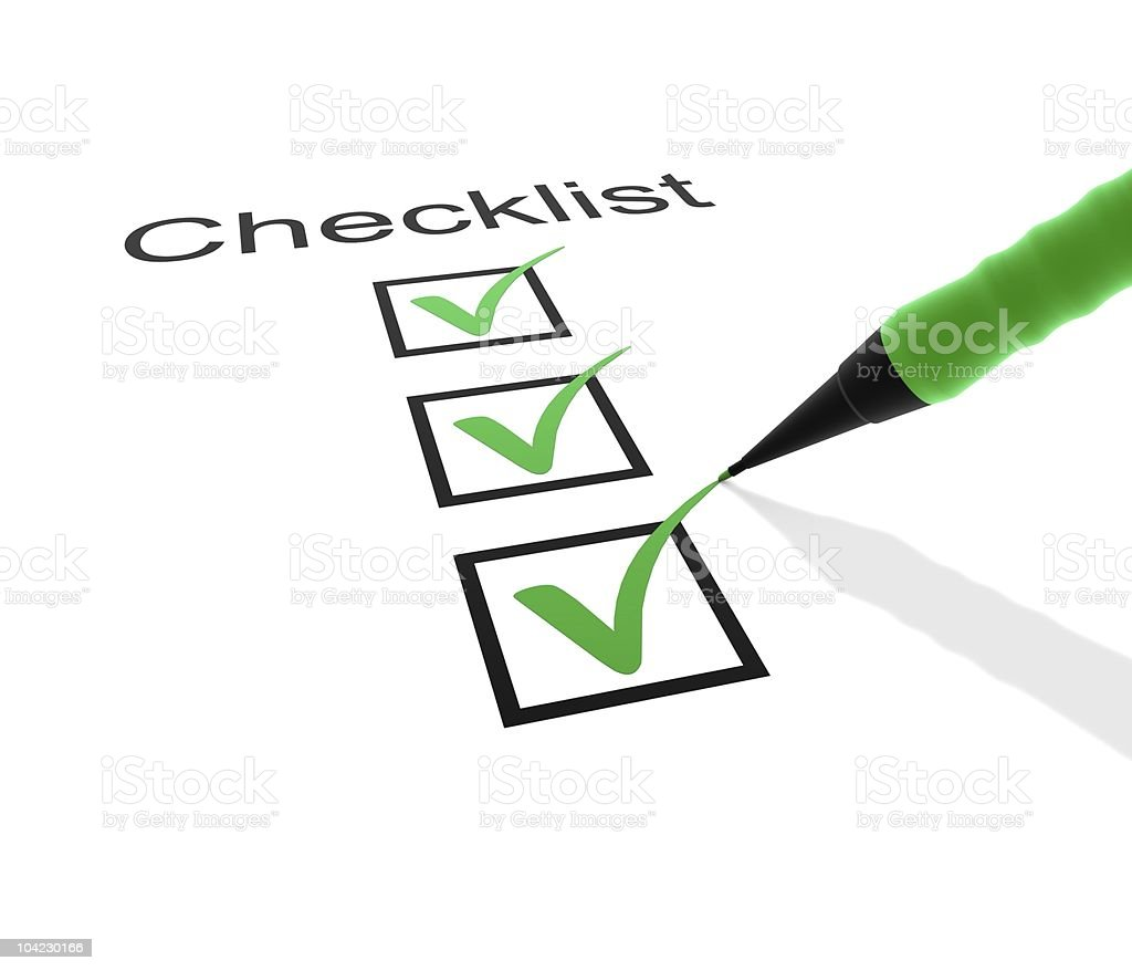 Checklist with three boxes checked in green  stock photo