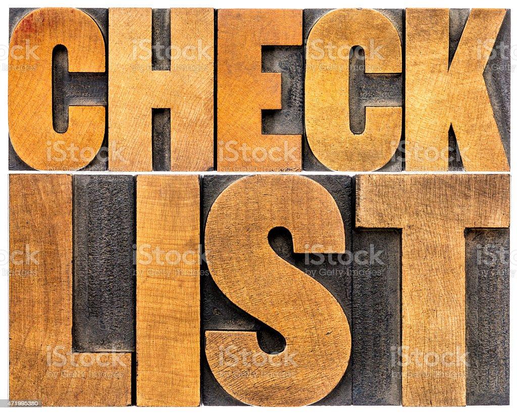checklist word typography stock photo
