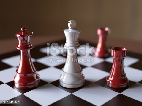 Red queen and rooks deliver checkmate to white king.