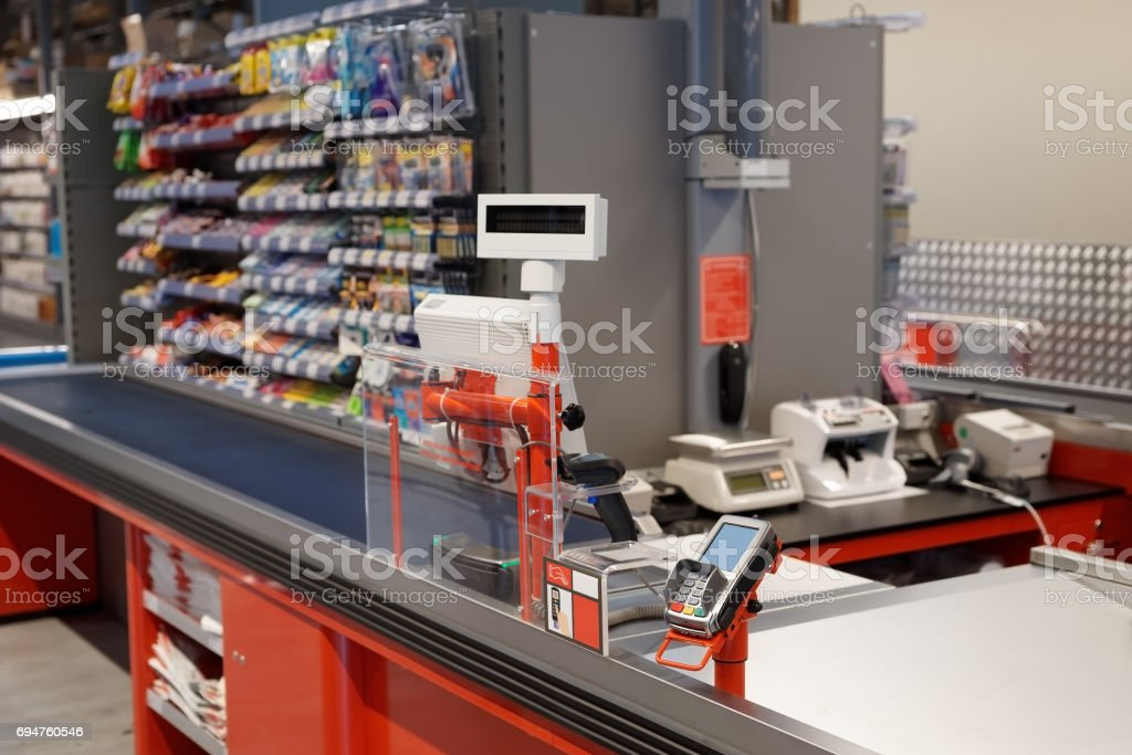 Checkout terminal in a supermarket stock photo