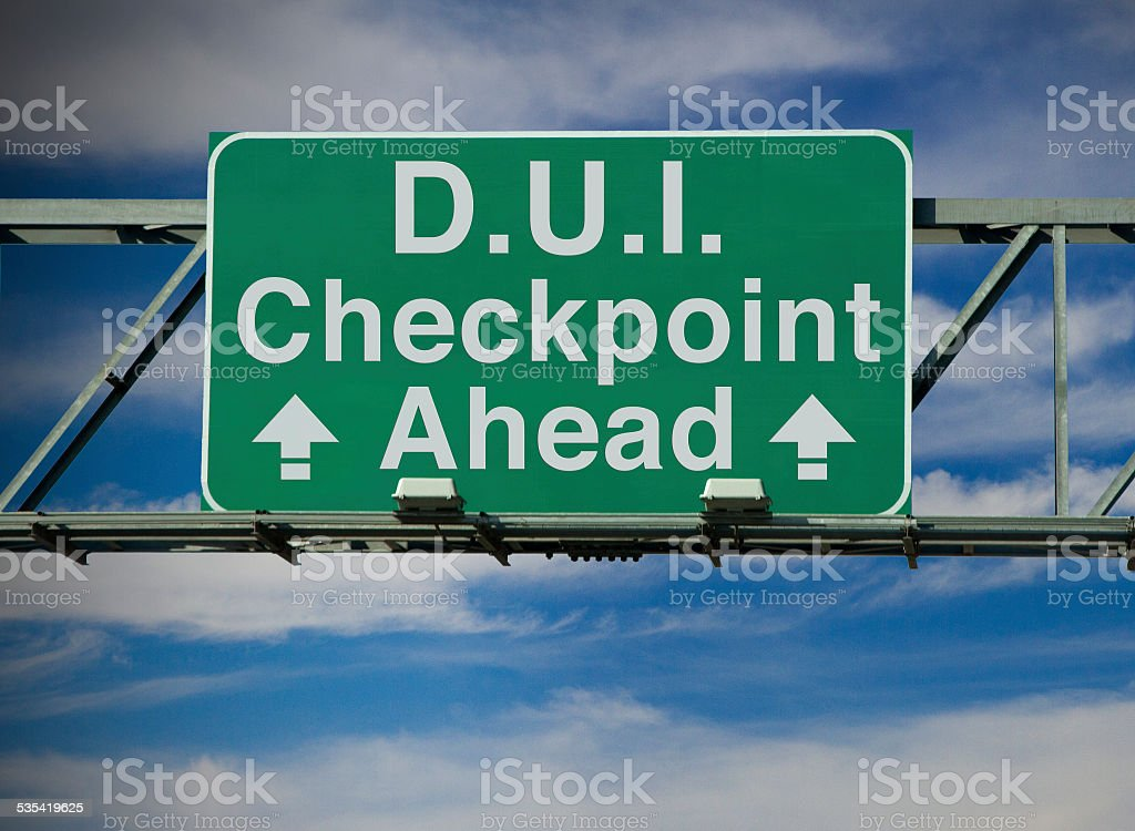 D.U.I. Checkpoint Ahead stock photo