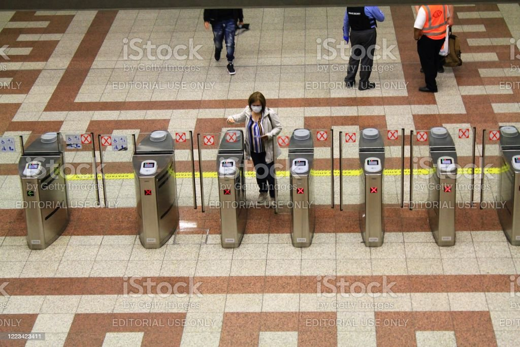 Checkpoint at Syntagma metro station Checkpoint at Syntagma metro station - Athens, Greece, May 6 2020. Accessibility Stock Photo