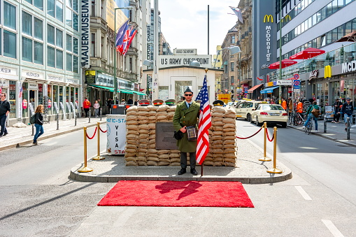 Checkpoint Charlie monument in Berlin, Germany