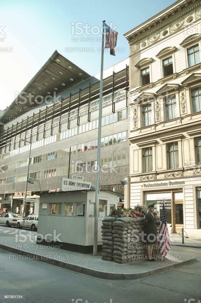 Checkpoint Charlie - symbol of the Cold War, representing the separation of East and West. September 1, 2005 - Berlin, Germany stock photo