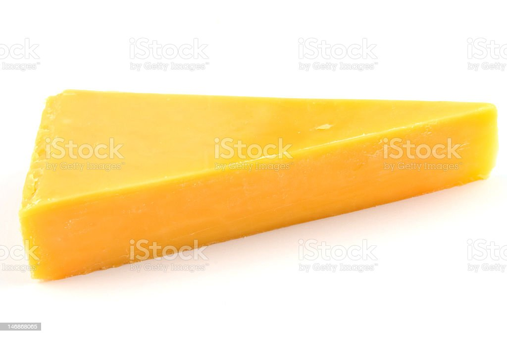 Cheddar cheese isolated stock photo