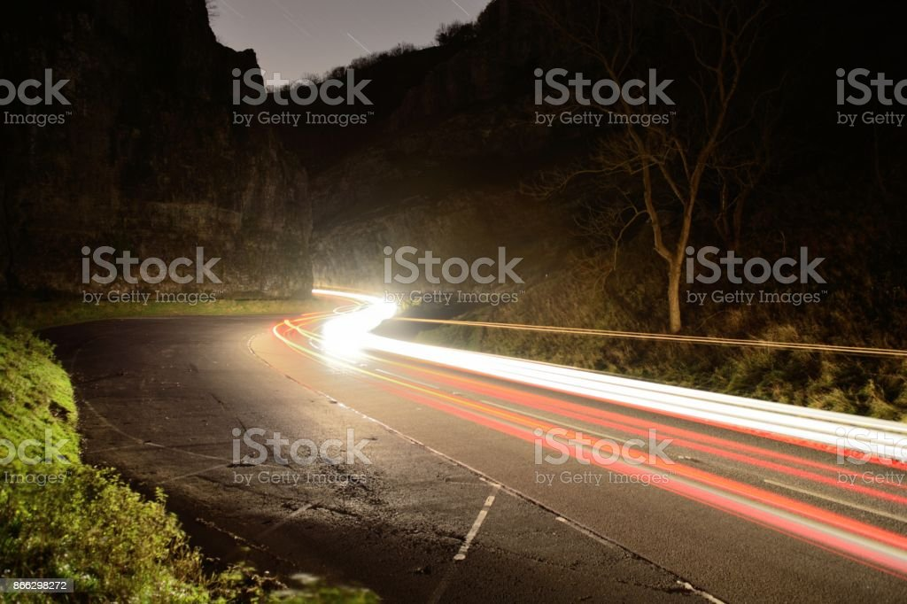 Cheddar Gorge at night stock photo