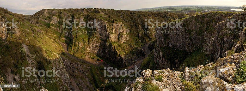 Cheddar Gorge Panorama stock photo
