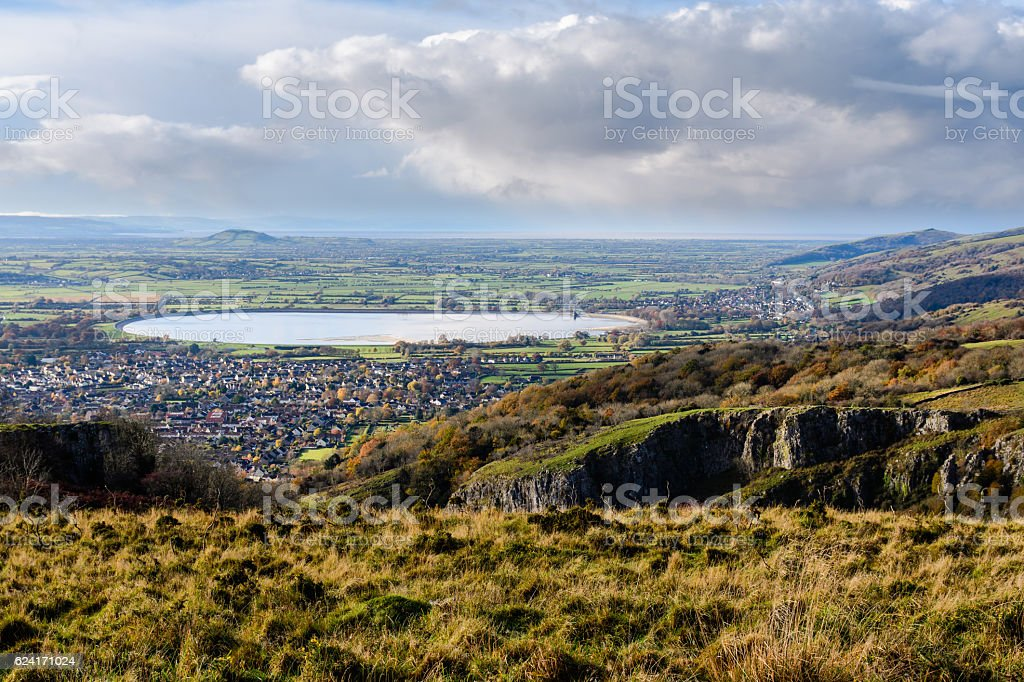 Cheddar Resevoir and the Somerset Levels from Cheddar Gorge stock photo