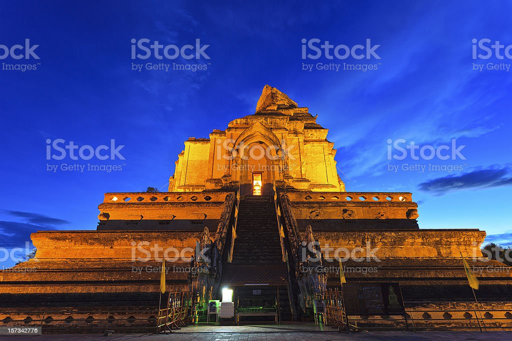 chedi luang temple in chiang mai,thailand stock photo