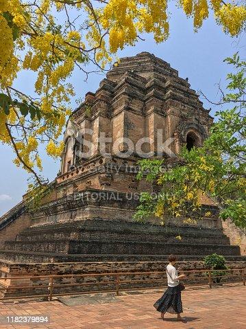 Chedi Luang  Worawihan Temple , Chiang Mai ,Thailand  On 27 April 2018
