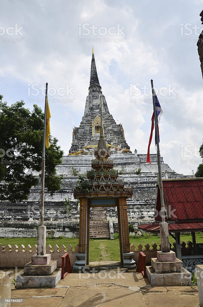 Chedi PhukhaoThong at  Wat Phu Khao Thong of Ayutthaya Thailand royalty-free stock photo