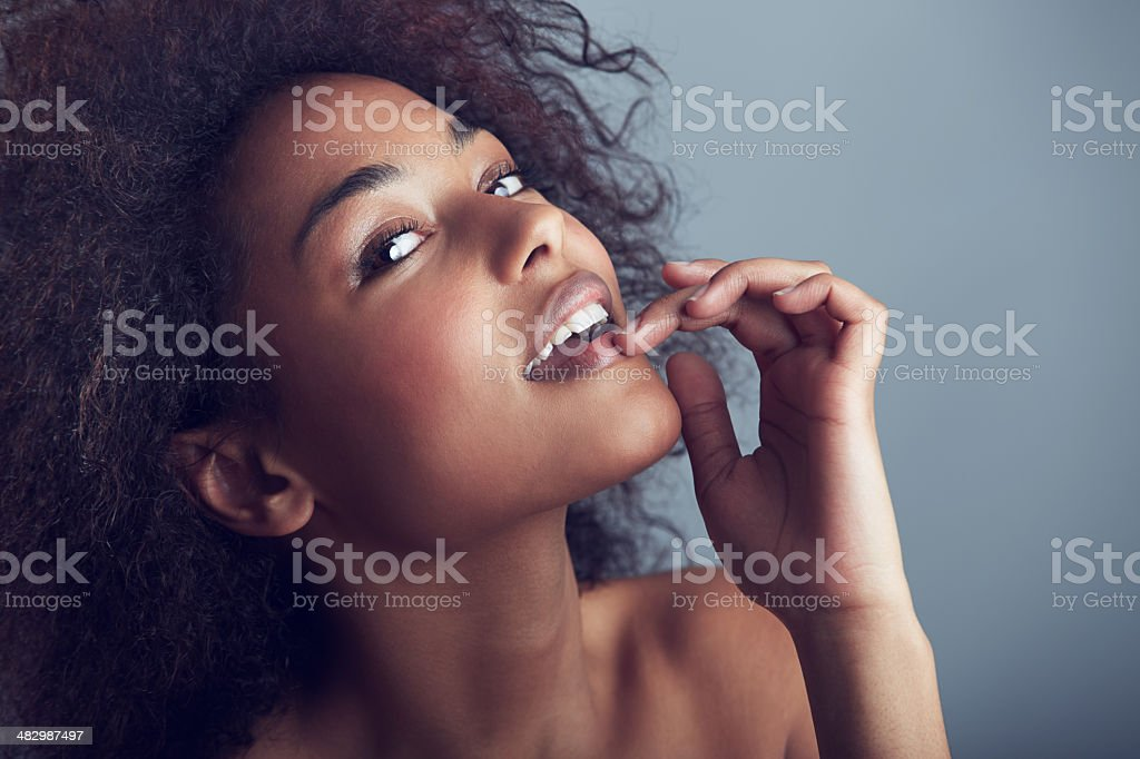 Cheeky confidence stock photo