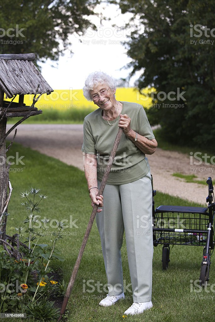 Cheerful 90 year old gardener royalty-free stock photo