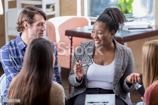 istock Cheerful African American businesswoman leads meeting 640332158