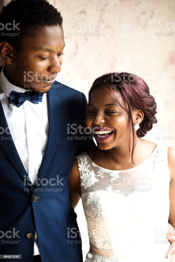 Cheerful African Descent Bride Groom Together stock photo