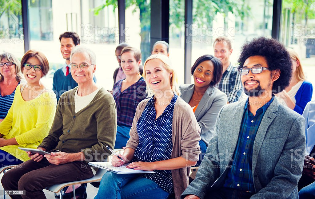 Cheerful and Diverse People Listening stock photo