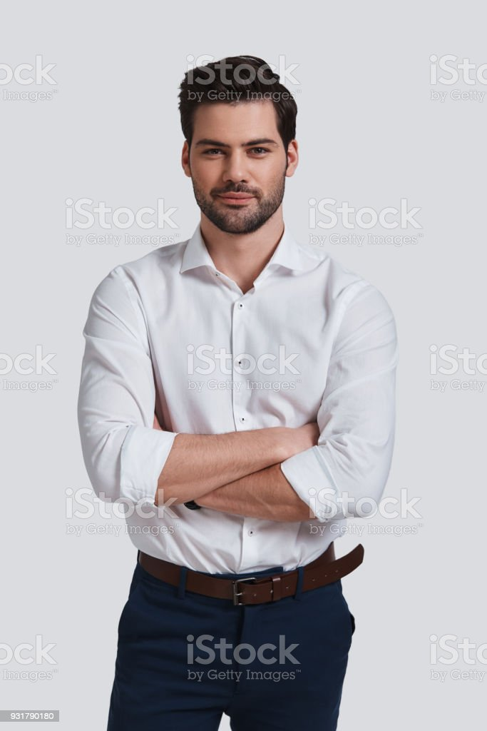 Cheerful and handsome. stock photo