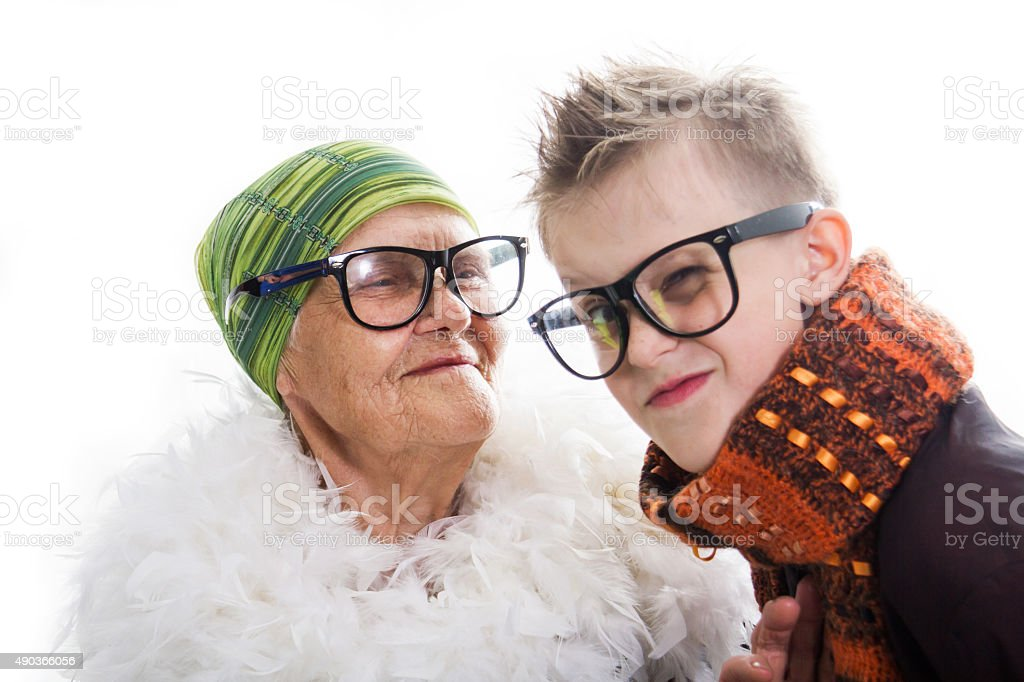 Cheerful and joyful grandmother and the grandson stock photo