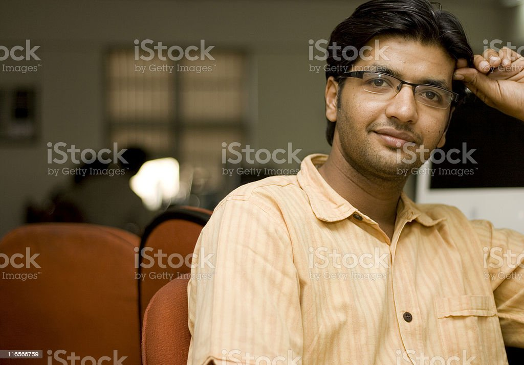 Cheerful Asian Indian man IT office worker employee royalty-free stock photo