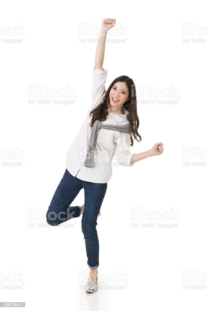 Cheerful Asian woman stock photo