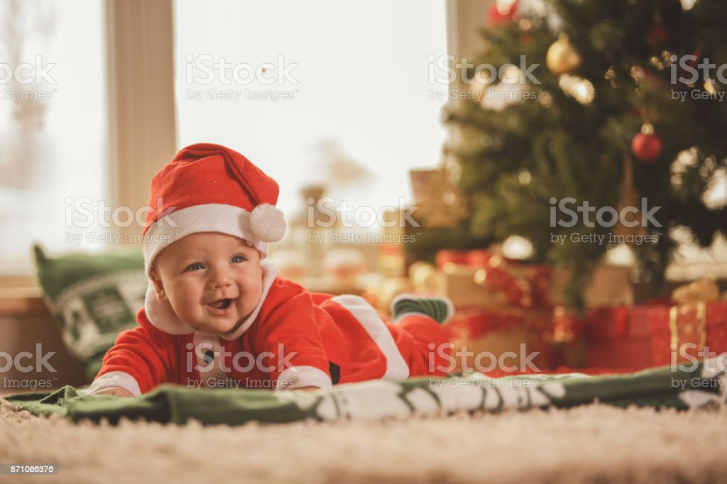 Cheerful baby boy stock photo