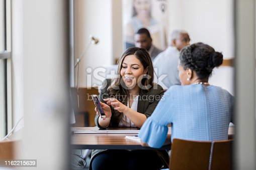 Mid adult female bank employee discusses a mobile banking app's features with a mature female client.