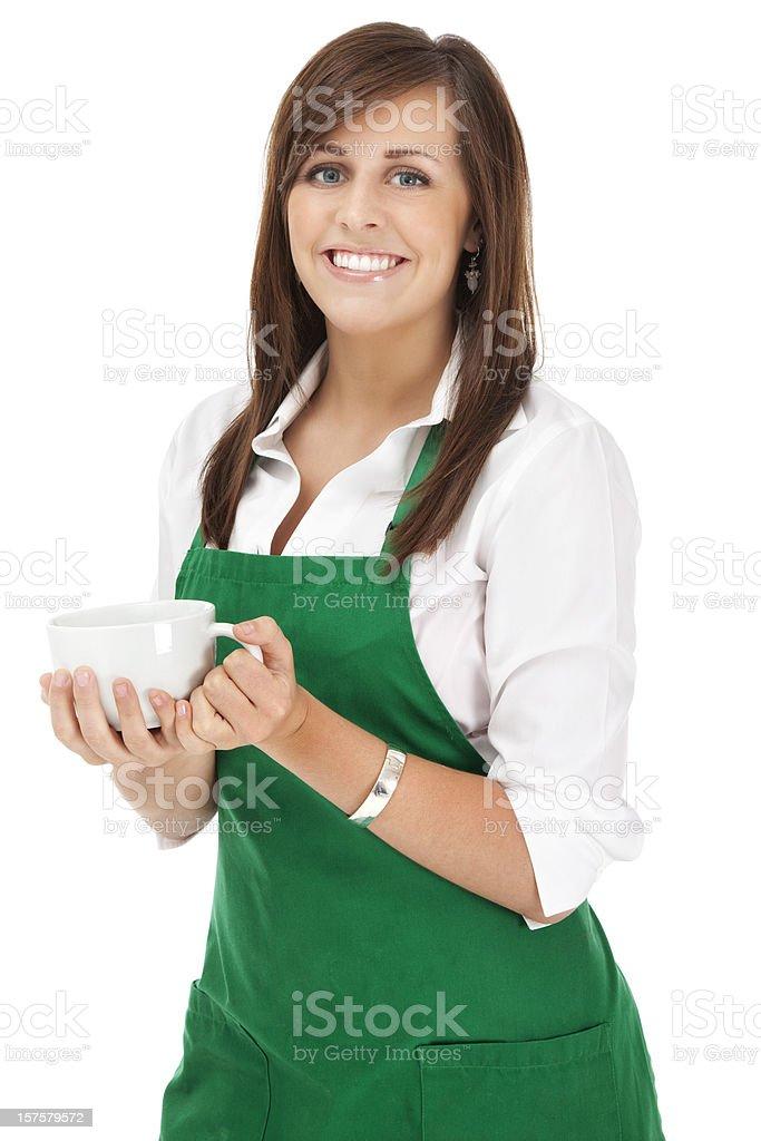 Cheerful Barista Holding Coffee Mug royalty-free stock photo