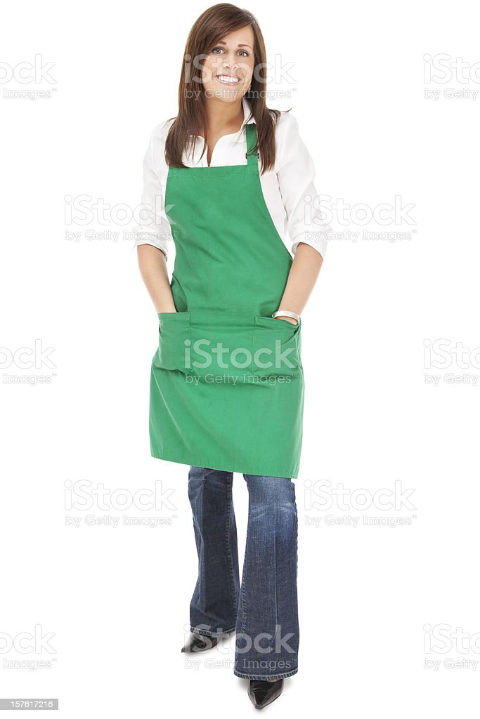 Cheerful Barista in Green Apron stock photo