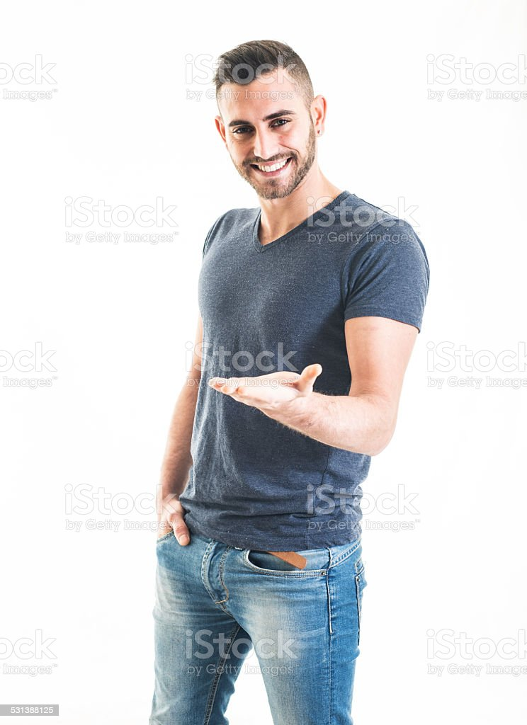 Cheerful Bearded Man Holding a Blank Sign stock photo