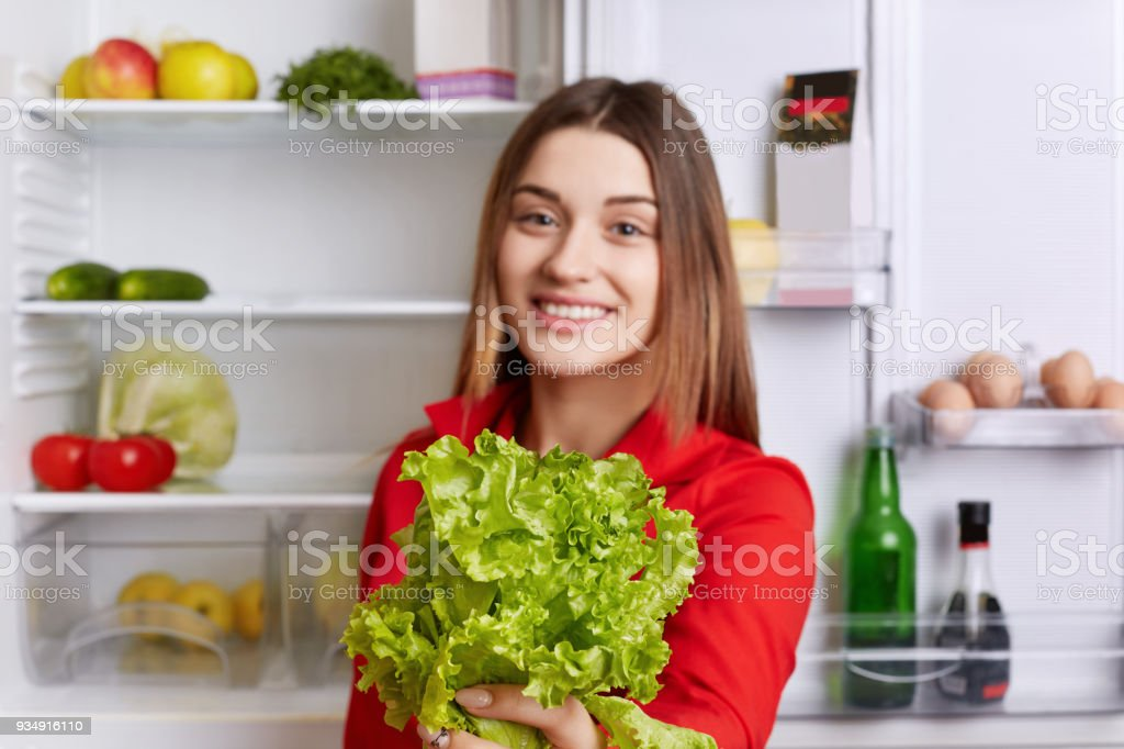 Cheerful beautiful female holds salad lettuce in hands, supports healthy nutrition, stands near fridge. Selective focus. Adorable woman demonstares her favourite product for making vegeterian salad stock photo