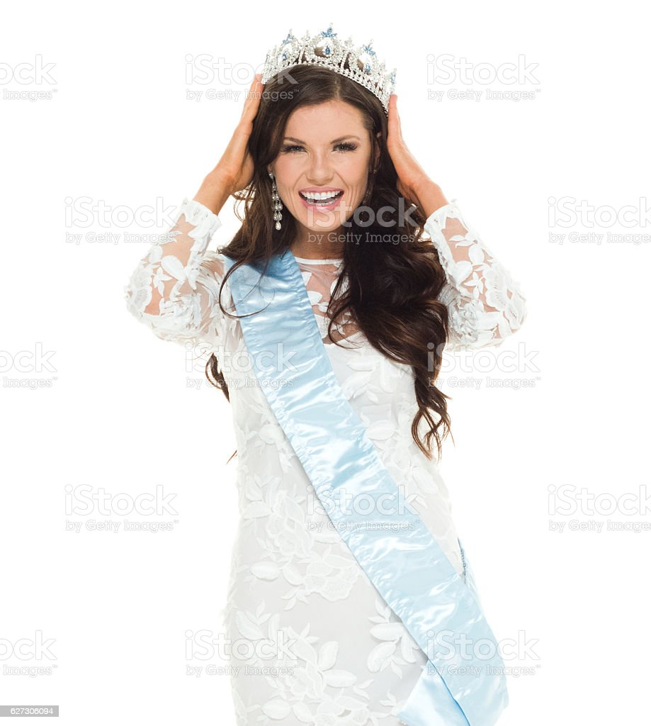 Cheerful beauty queen looking at camera stock photo