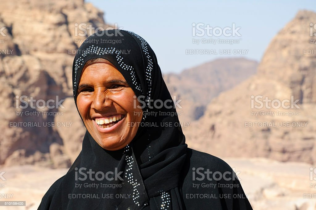 best service da3dc 637d8 Cheerful Bedouin woman in Petra, Jordan royalty-free stock photo