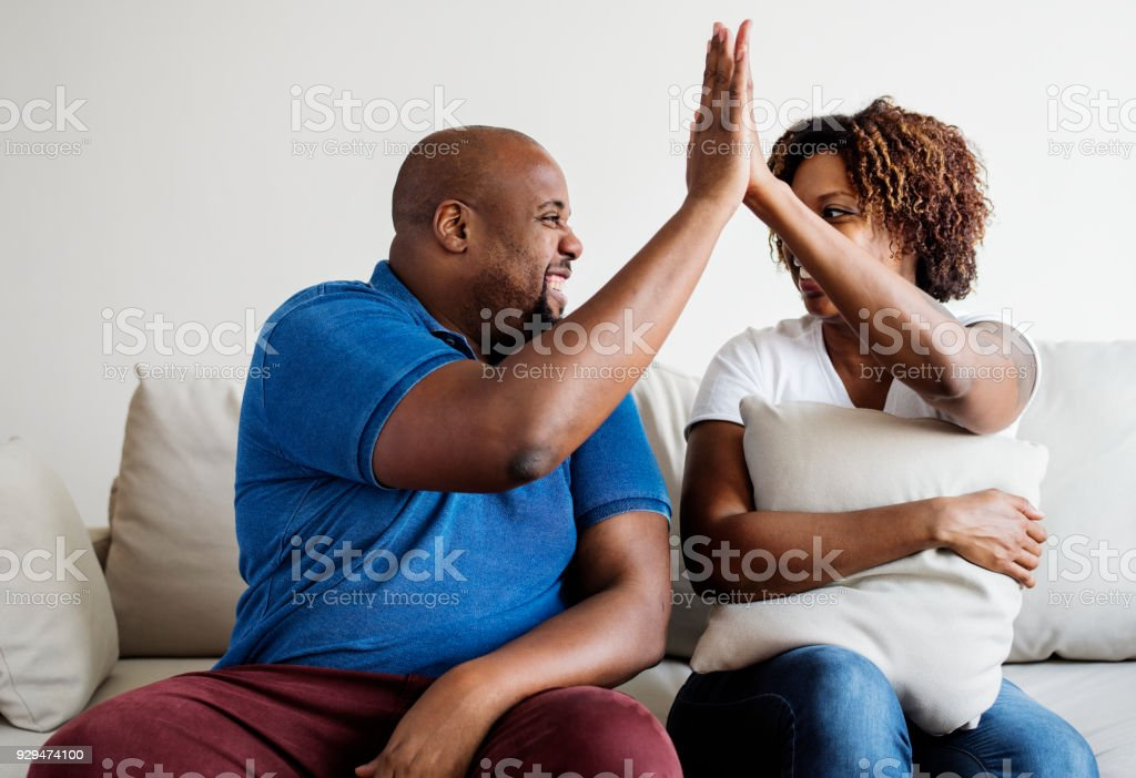 A cheerful black couple stock photo
