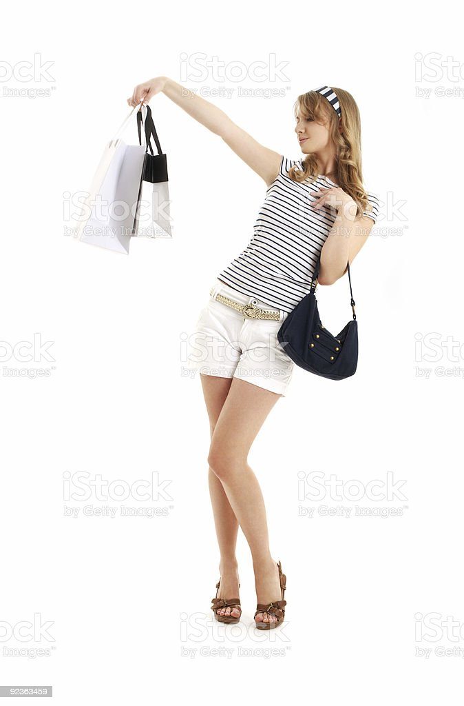 cheerful blond with shopping bags royalty-free stock photo
