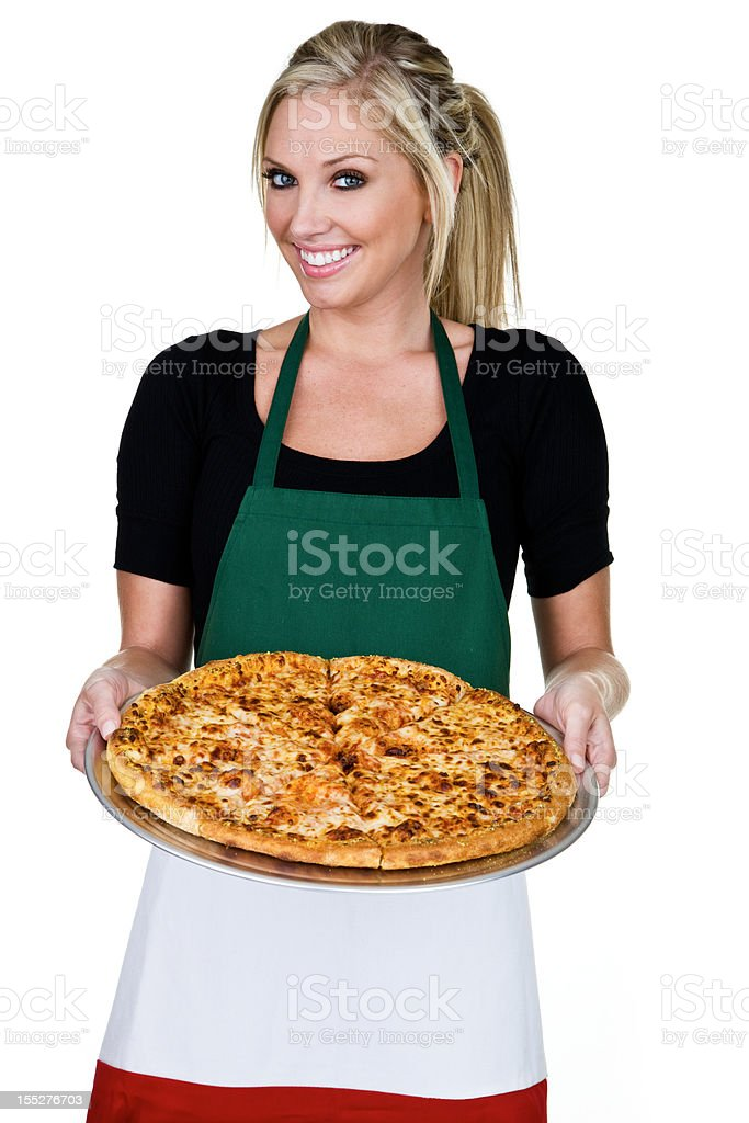 Cheerful blond woman holding a pizza royalty-free stock photo