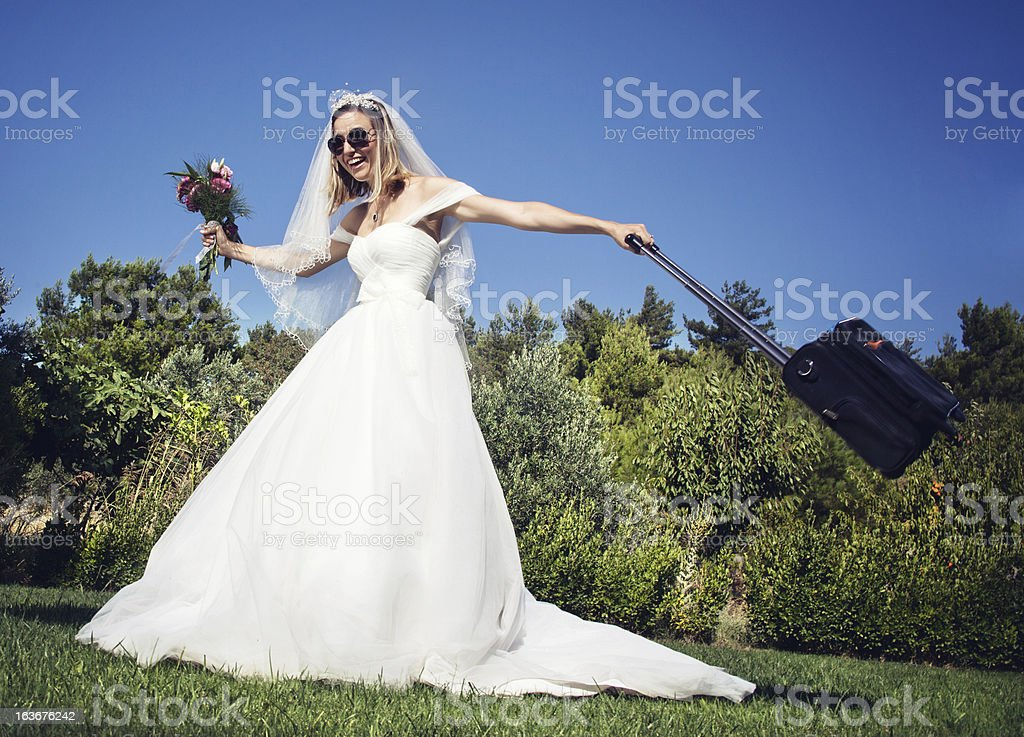 Cheerful bride be in a hurry marriage royalty-free stock photo