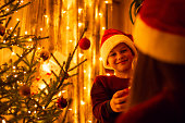 Warm colours, festive atmosphere, winter holidays, spending time with family.