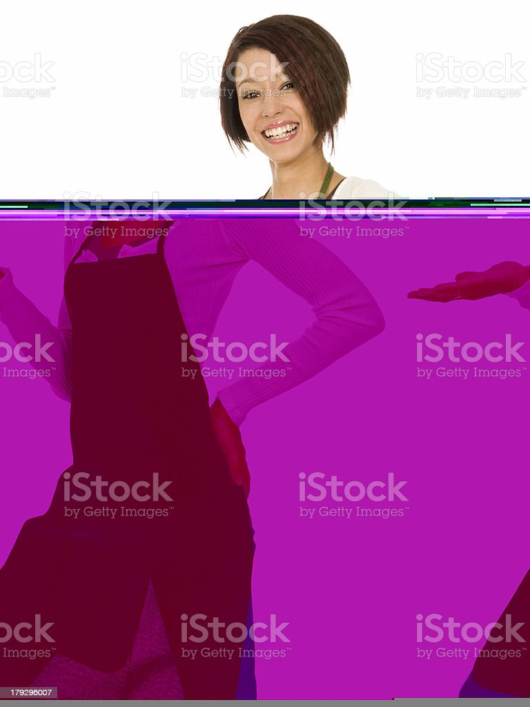 Cheerful Brunette in Apron royalty-free stock photo