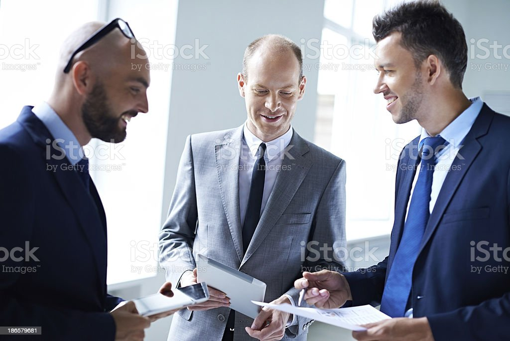 Cheerful business discussion royalty-free stock photo