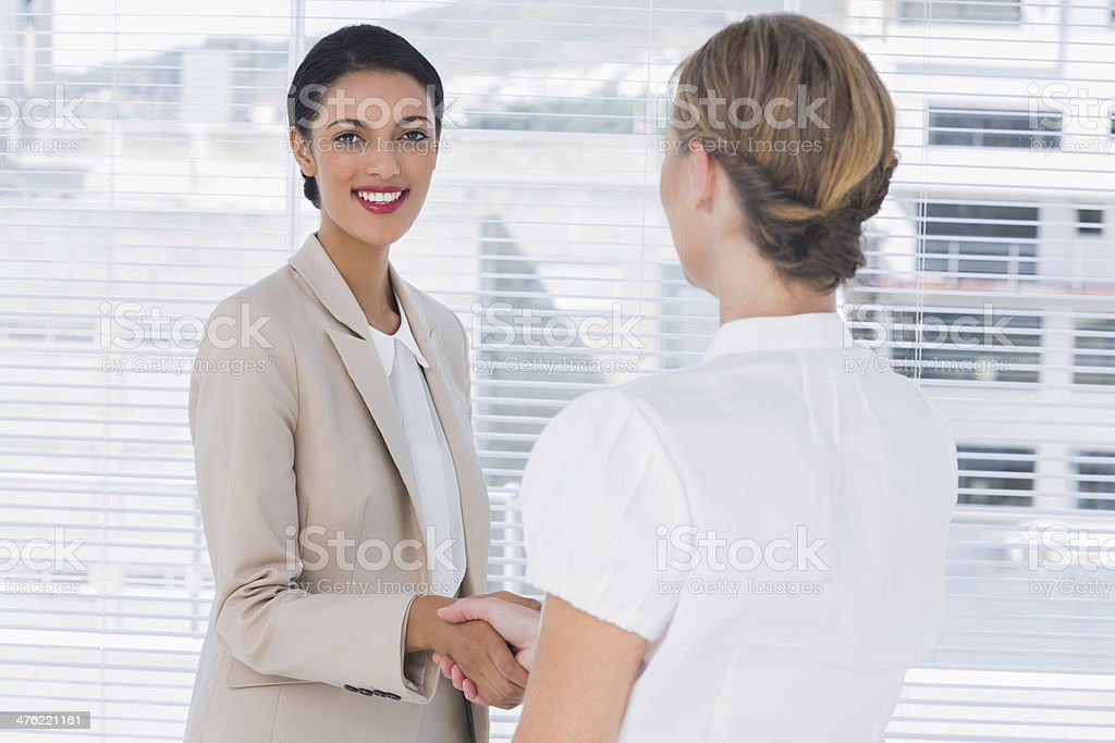 Cheerful business partners shaking hands royalty-free stock photo