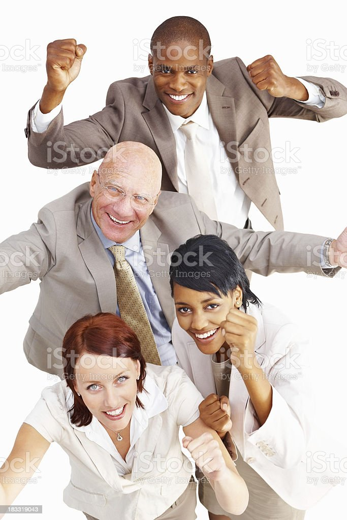 Cheerful business people raising hands while looking at you royalty-free stock photo