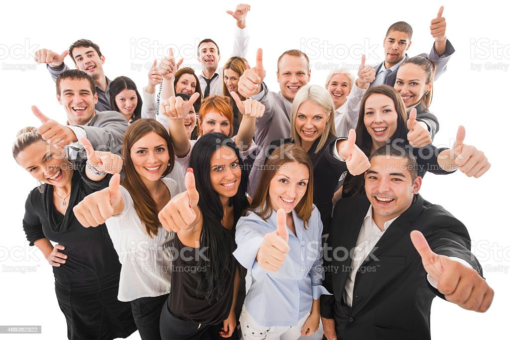 Cheerful business people showing thumbs up. Isolated on white. royalty-free stock photo