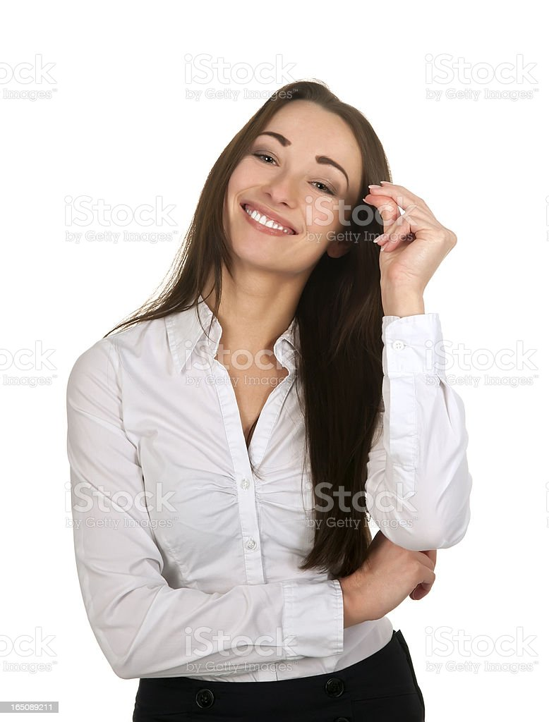 cheerful business woman stock photo