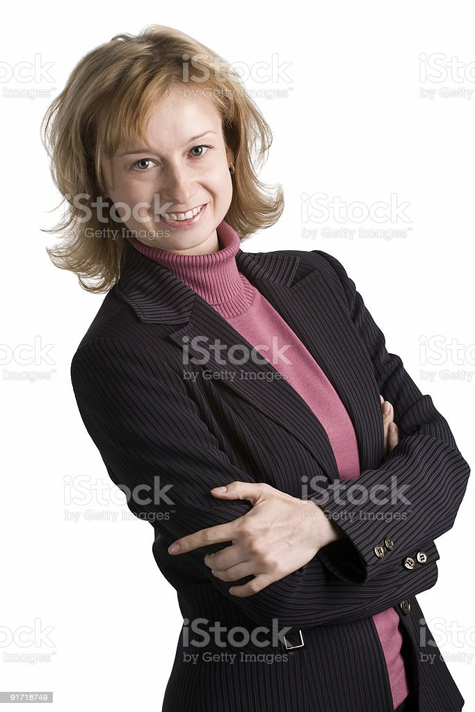 cheerful business woman with arms crossed royalty-free stock photo
